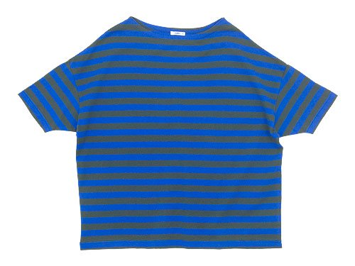 maillot border drop shoulder S/S T-shirt CHARCOAL x BLUE