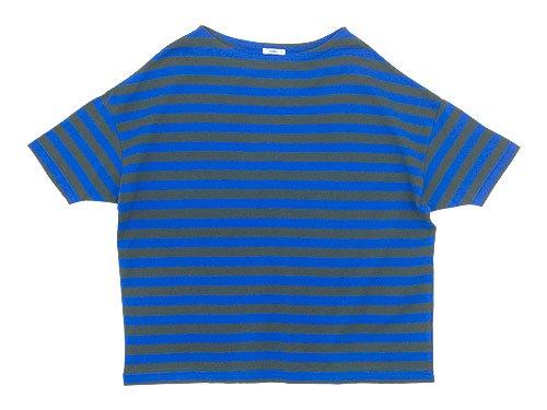 maillot border drop shoulder S/S T-shirt CHARCOAL x BLUE