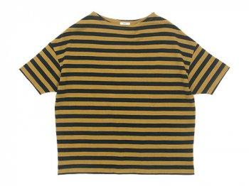 maillot border drop shoulder S/S T-shirt CAMEL x BLACK