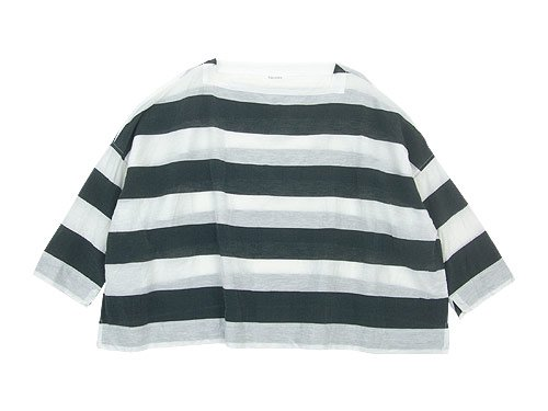 TOUJOURS Oversized Basque Shirt WHITE x BLACK 【TM30BS02】