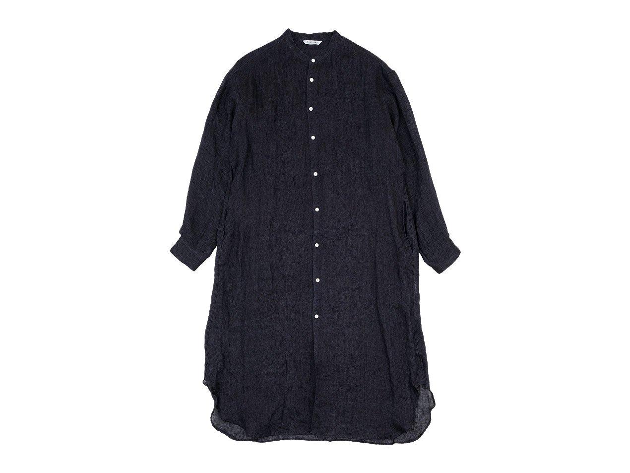 TOUJOURS Oversized Band Collar Shirt Dress BLACK NAVY 【TM30UD03】