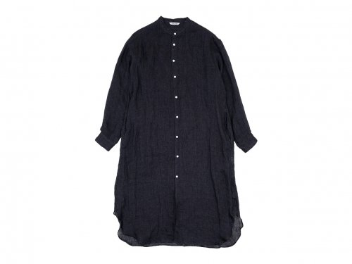 TOUJOURS Oversized Band Collar Shirt Dress BLACK NAVY 【TM30UD03】