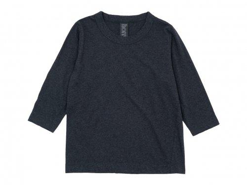 homspun 30/1天竺 七分袖Tシャツ TOPダークチャコール