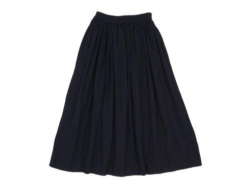 homspun 藍染 ギャザー ロングスカート ブルー