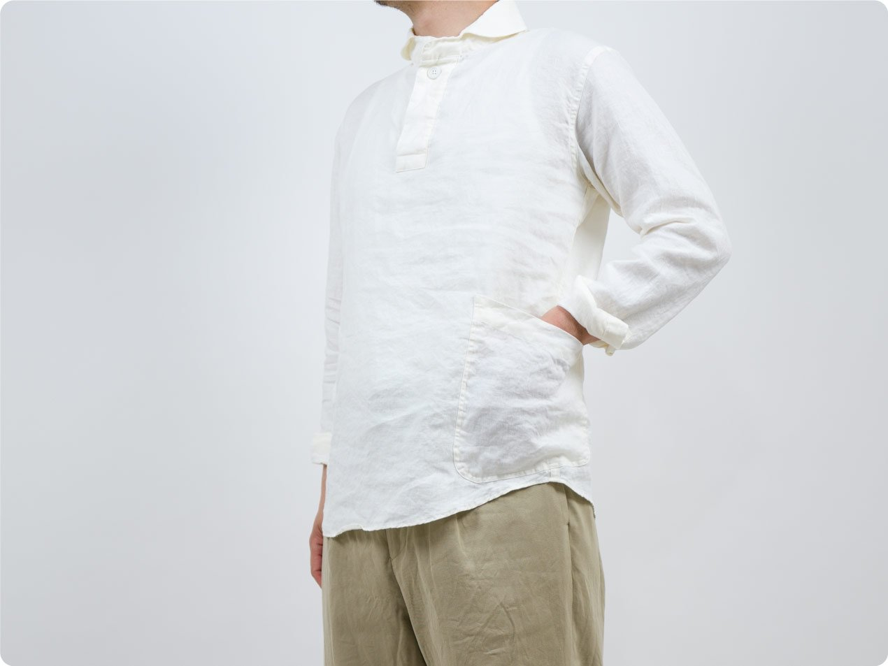 LOLO フレンチリネン プルオーバーシャツ OFF WHITE