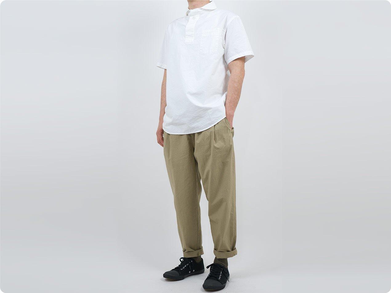 LOLO コットン半袖 プルオーバーシャツ OFF WHITE