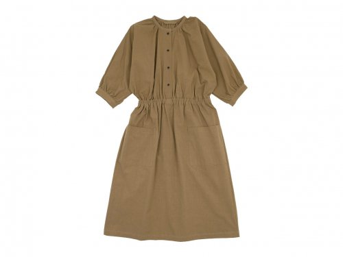 Lin francais d'antan Meurent(ムーラン) dolman gathered one-piece KHAKI