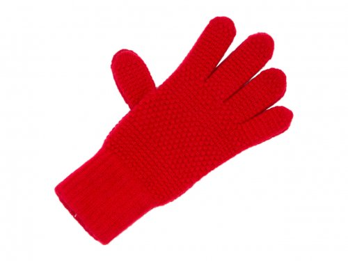 William Brunton Hand Knits Tuck Stitch Gloves RED