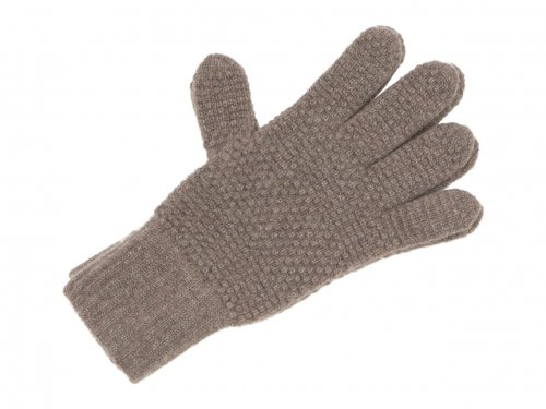 William Brunton Hand Knits Tuck Stitch Gloves BROWN