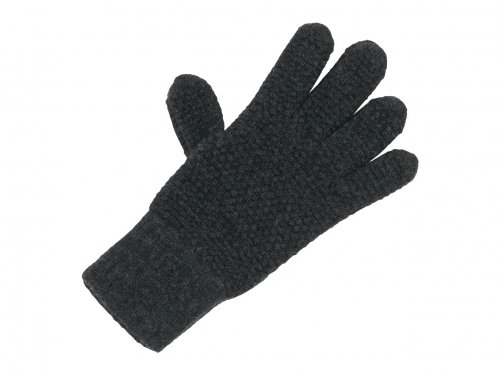 William Brunton Hand Knits Tuck Stitch Gloves DARK GRAY