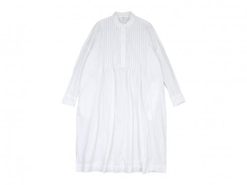 TOUJOURS Back Gathered Pin Tuck Shirt Dress WHITE【MM31FD04】