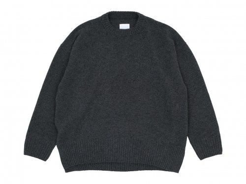 TOUJOURS Crew Neck Long Side Slit Big Pullover CHARCOAL BROWN 【VM31XK05】