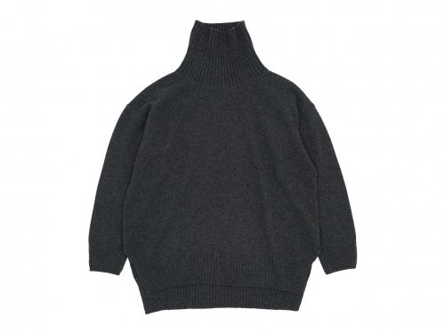 TOUJOURS Turtle Neck Side Slit Big Pullover
