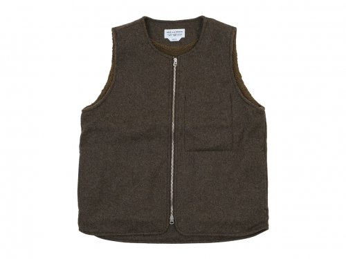 ENDS and MEANS Wool Boa Vest MIX BROWN