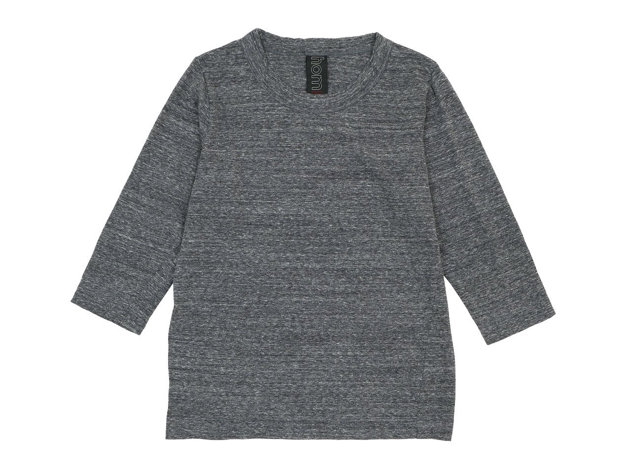 homspun 30/1天竺 七分袖Tシャツ 粗挽杢チャコール