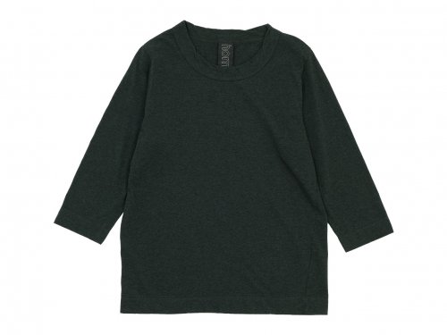homspun 30/1天竺 七分袖Tシャツ TOPダークグリーン
