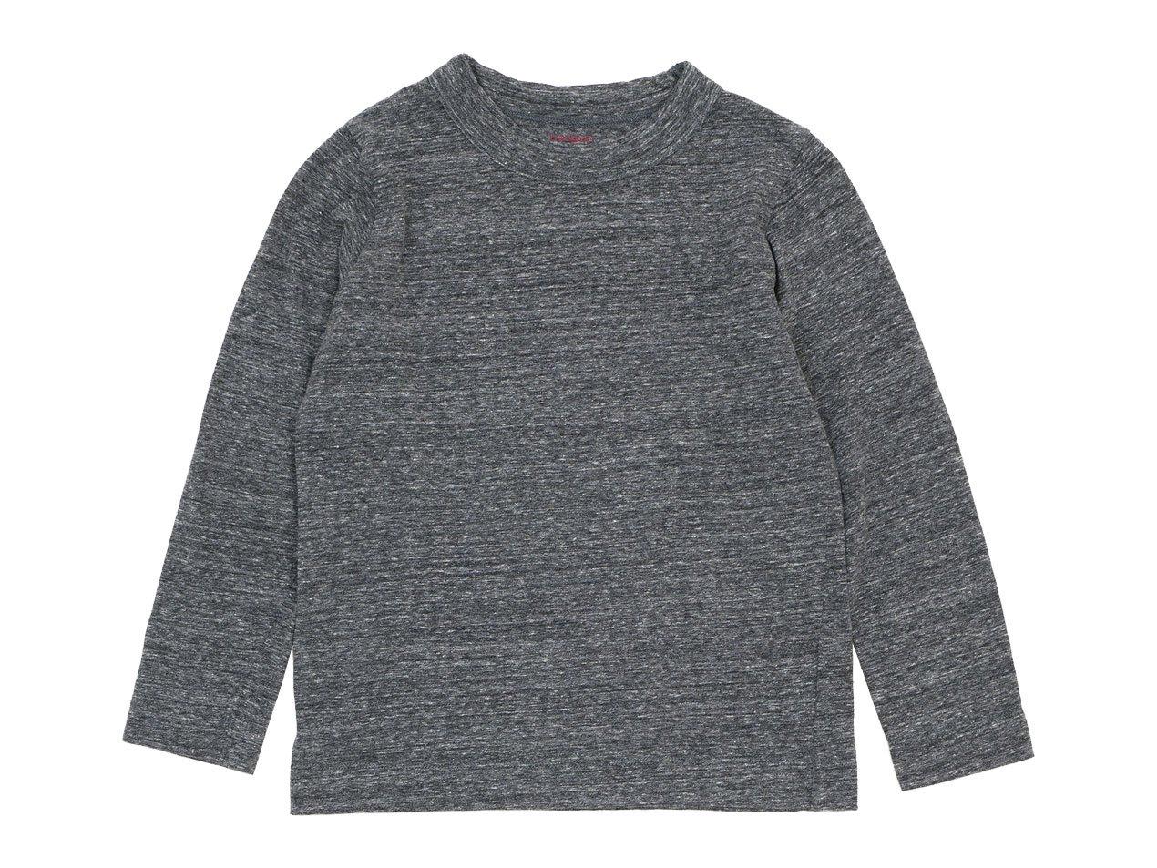 【Kid's】 homspun 30/1天竺 長袖Tシャツ 粗挽杢チャコール