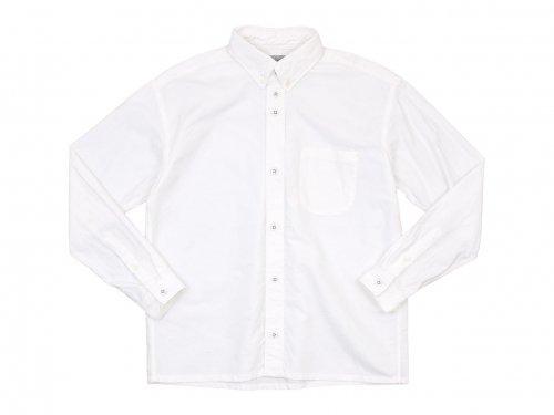 nisica ルーズフィット ボタンダウンシャツ 長袖 オックス WHITE