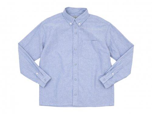 nisica ルーズフィット ボタンダウンシャツ 長袖 オックス BLUE