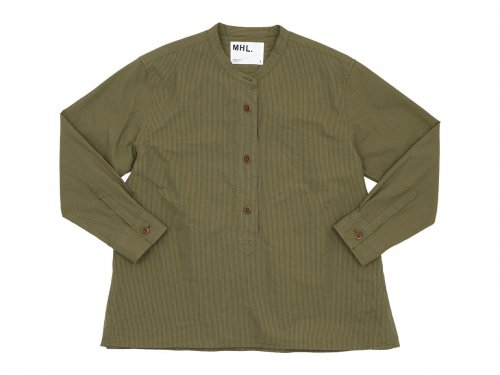 MHL. BROKEN STRIPE COTTON NO COLLAR SHIRTS 054BROWN 〔レディース〕