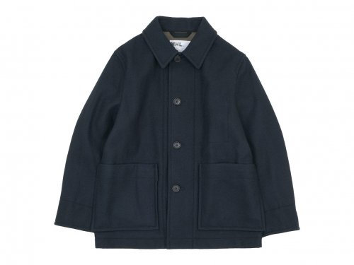 MHL. BASIC WOOL MELTON COAT 121NAVY 〔メンズ〕