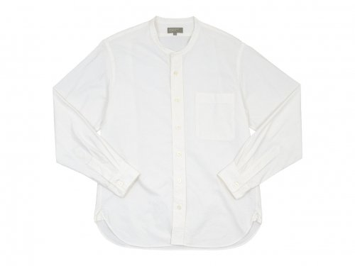 MARGARET HOWELL COTTON OXFORD BUTTON THROUGH COLLARLESS SHIRTS 030WHITE 〔メンズ〕