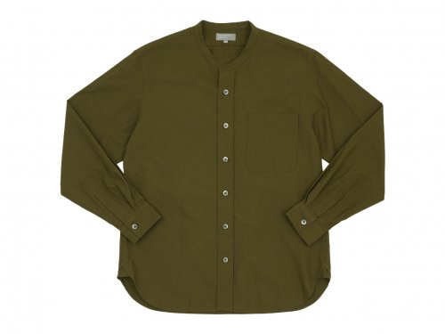 MARGARET HOWELL COTTON OXFORD BUTTON THROUGH COLLARLESS SHIRTS 181OLIVE 〔メンズ〕