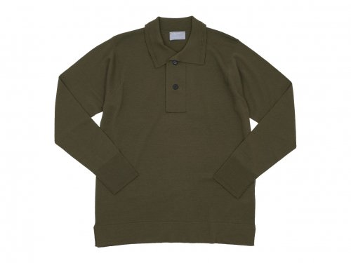 MARGARET HOWELL EXTRAFINE MERINO HENRY NECK KNIT 180OLIVE 〔メンズ〕