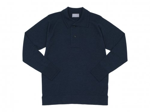 MARGARET HOWELL EXTRAFINE MERINO HENRY NECK KNIT 027NAVY 〔メンズ〕