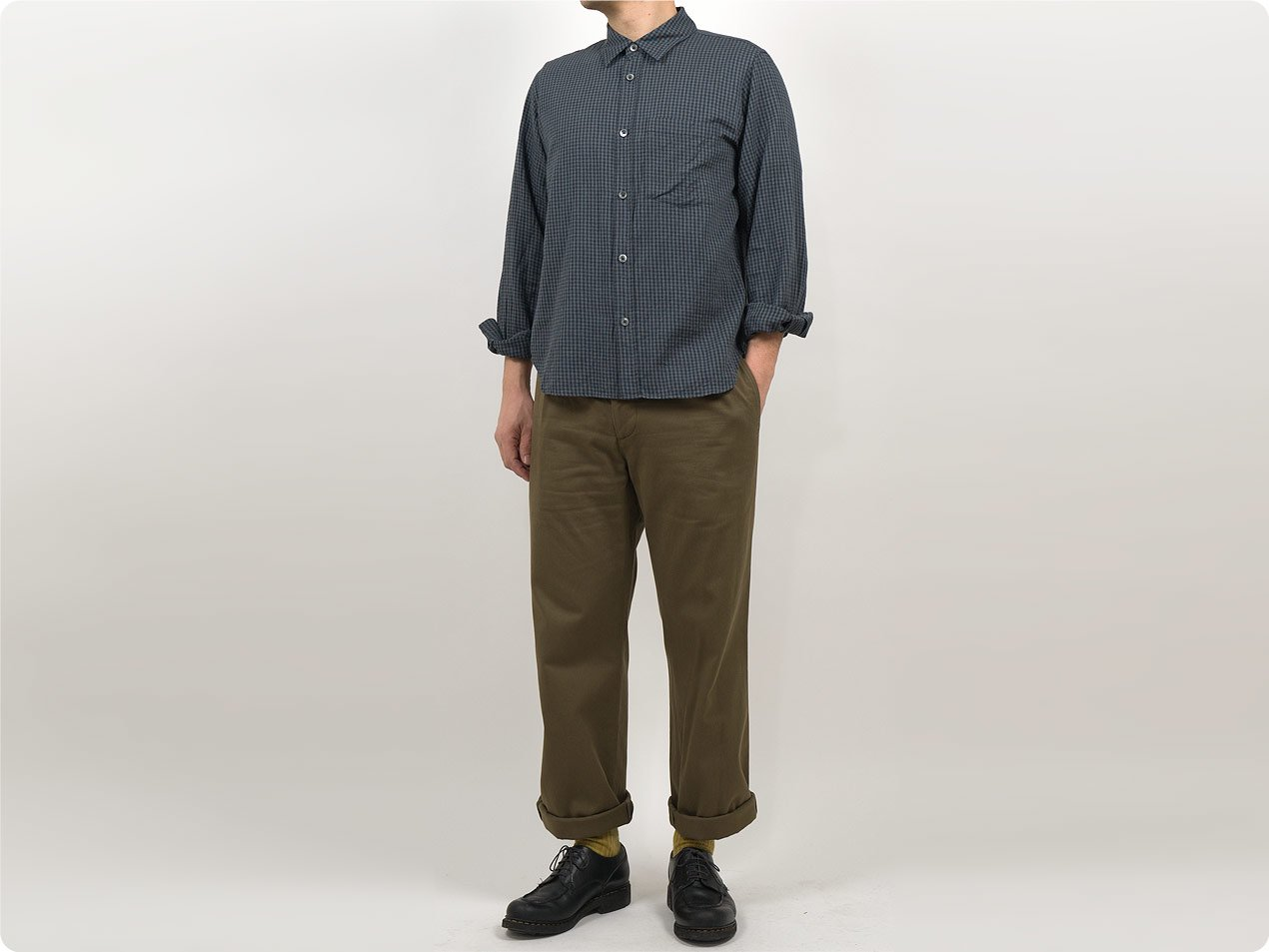 MARGARET HOWELL GINGHAM COTTON CASHMERE MINIMAL SHIRTS 023CHARCOAL 〔メンズ〕