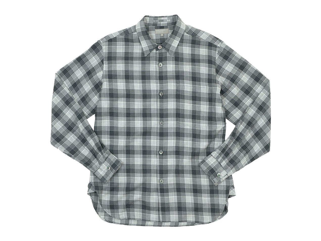 MARGARET HOWELL TARTAN COTTON CASHMERE MINIMAL SHIRTS 022GRAY 〔メンズ〕