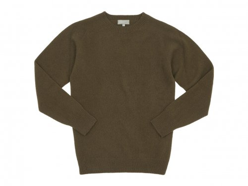 MARGARET HOWELL MERINO CASHMERE CREW KNIT 171OLIVE BROWN 〔メンズ〕