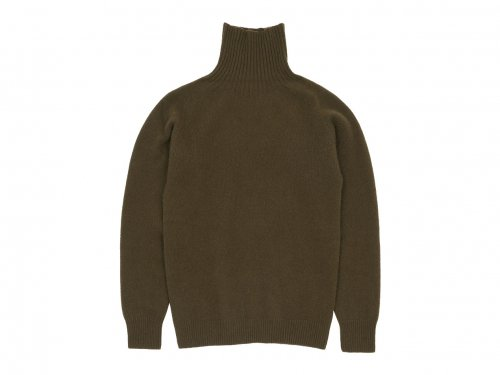 MARGARET HOWELL MERINO CASHMERE ROLL NECK KNIT 171OLIVE BROWN 〔メンズ〕