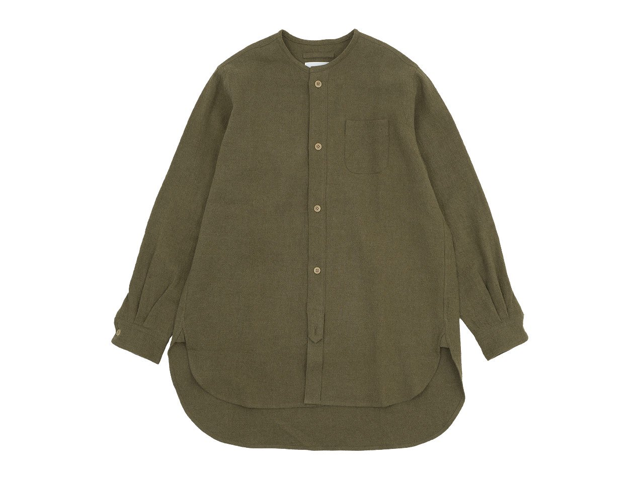 blanc no collar long shirts linen wool OLIVE