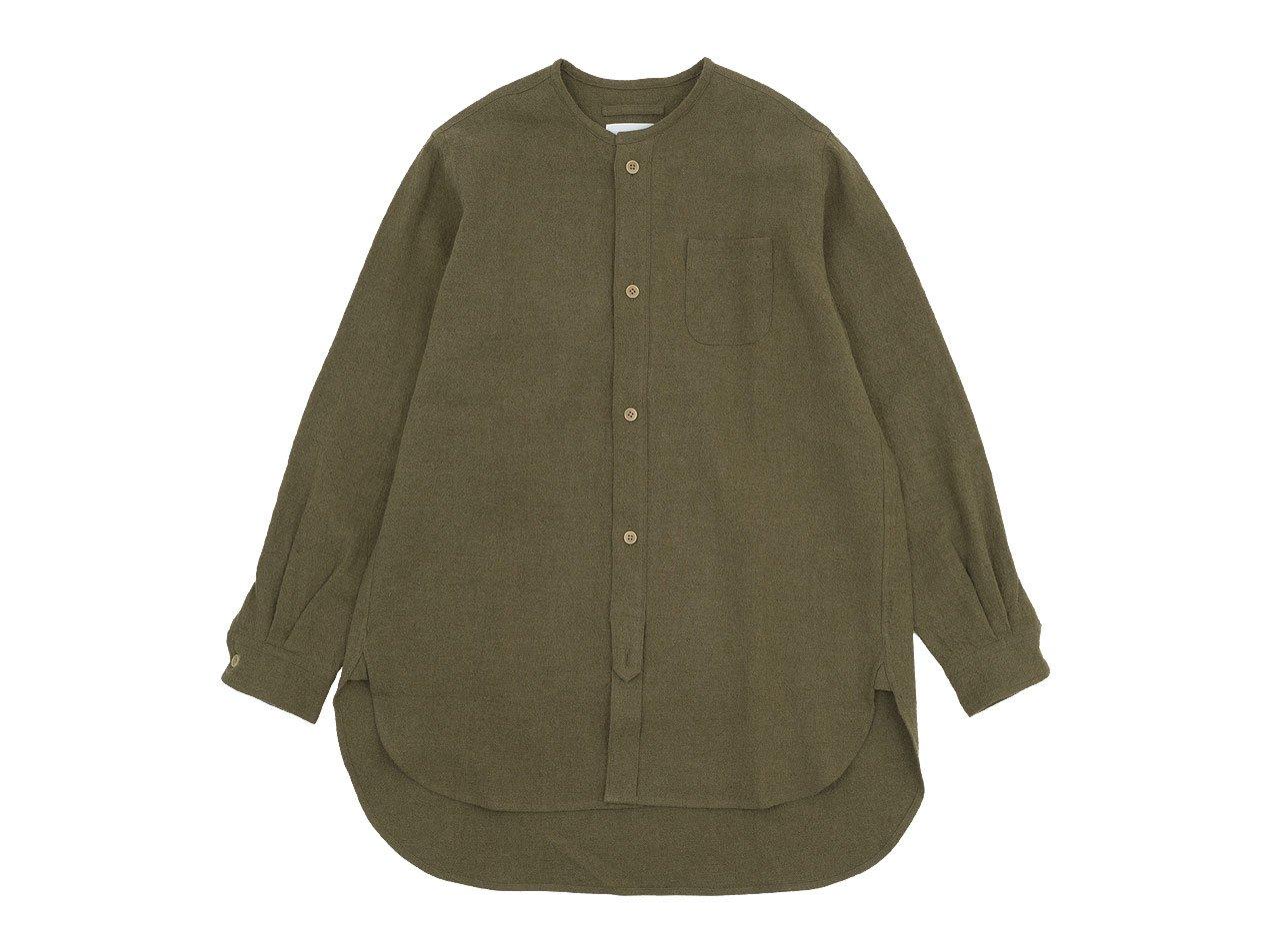 blanc no collar long shirts linen wool OLIVE