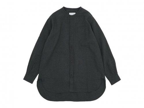 blanc no collar long shirts linen wool SUMIKURO