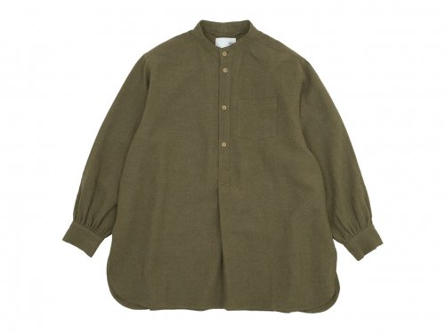 blanc housedress shirts linen wool OLIVE