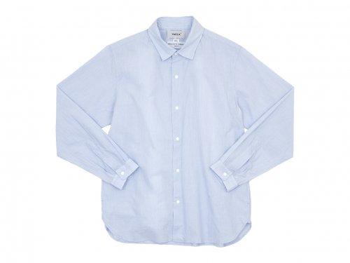 YAECA コンフォートシャツ リラックスロング SAX STRIPE 〔メンズ〕