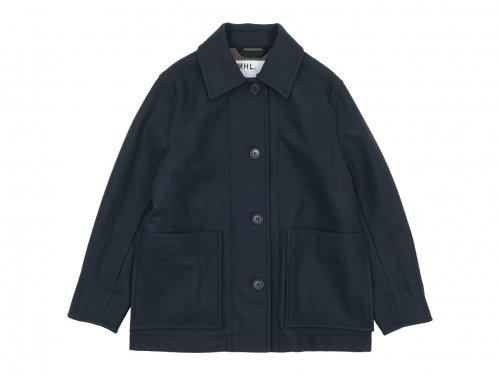 MHL. BASIC WOOL MELTON COAT 121NAVY 〔レディース〕