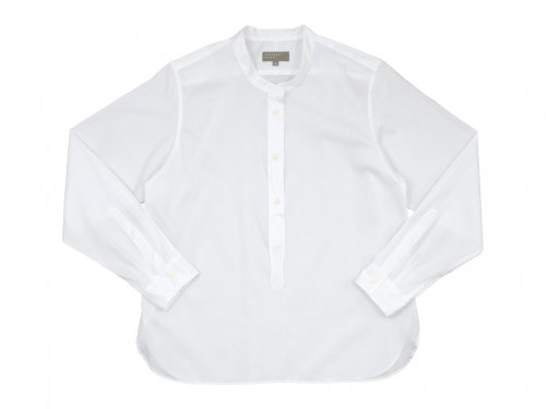 MARGARET HOWELL CHINTZ COTTON PULL ON COLLARLESS SHIRTS 030WHITE 〔レディース〕
