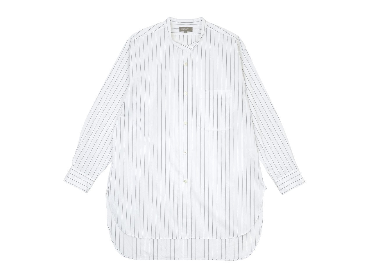MARGARET HOWELL CLASSIC STRIPE COTTON LONG SHIRTS 034WHITE 〔レディース〕