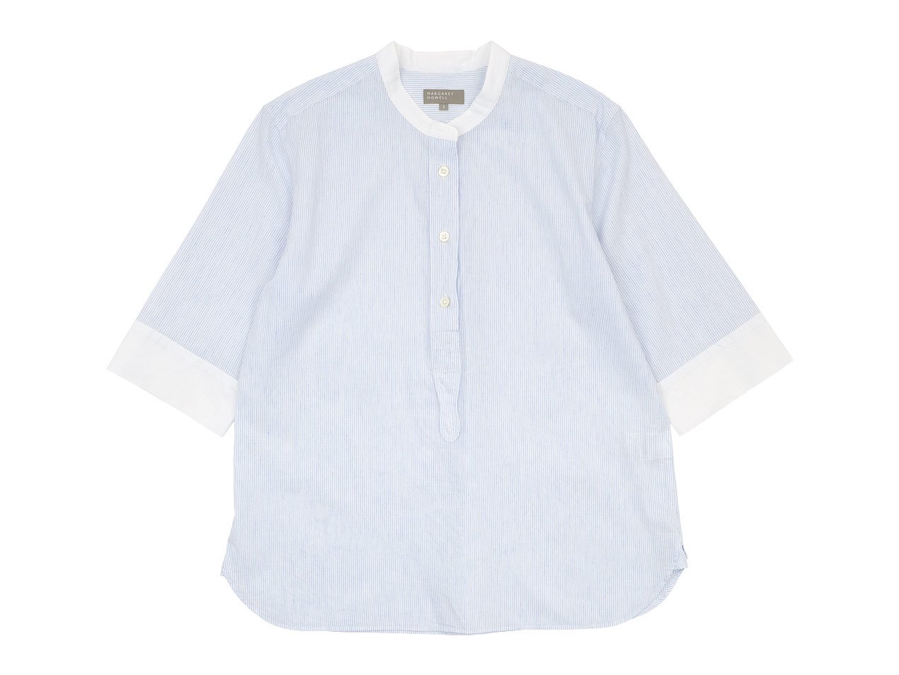 MARGARET HOWELL FINE STRIPE COTTON LINEN P/O SHIRTS 033WHITE 〔レディース〕