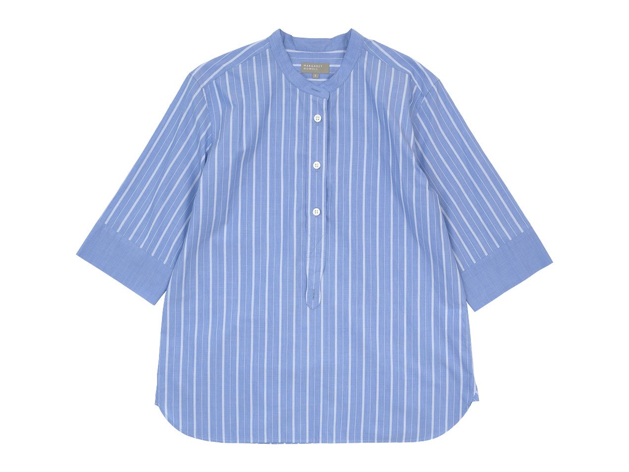 MARGARET HOWELL WIDE PJ STRIPE COTTON P/O SHIRTS 117BLUE 〔レディース〕