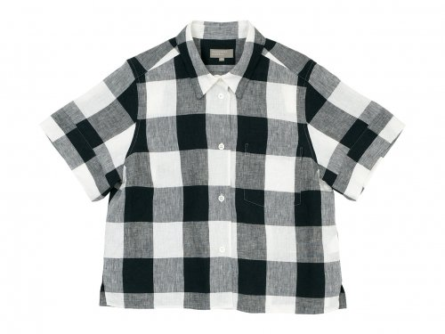 MARGARET HOWELL LARGE CHECK LINEN S/S SHIRTS 011BLACK 〔レディース〕