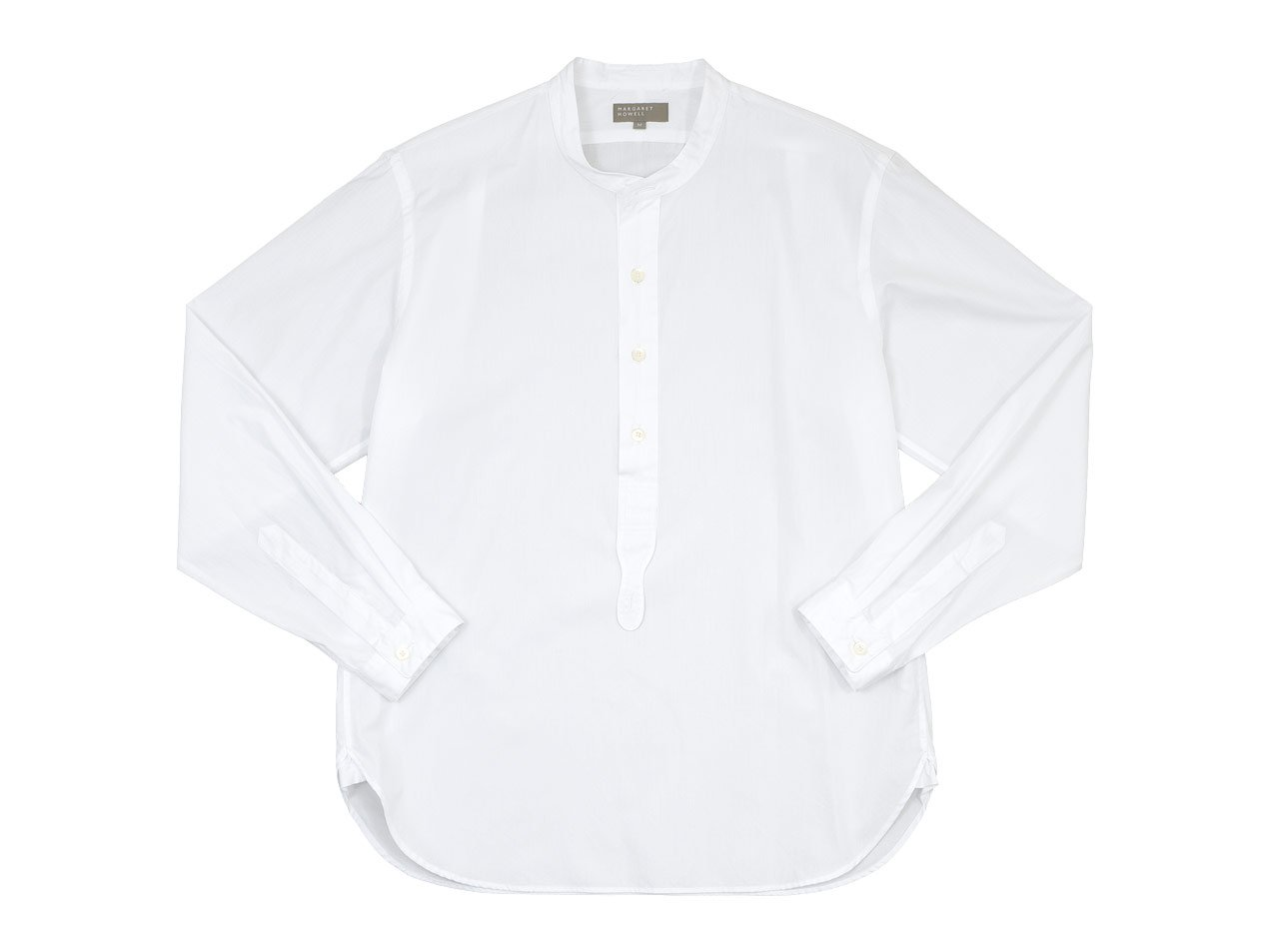 MARGARET HOWELL PLAIN COTTON POPLIN P/O SHIRTS 030WHITE 〔メンズ〕