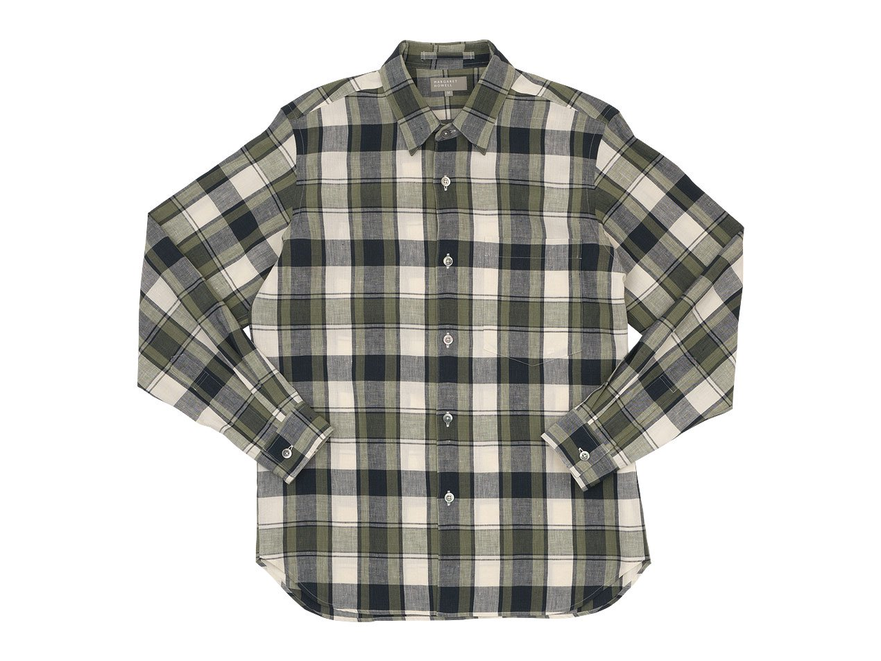 MARGARET HOWELL BOLD CHECK LINEN SHIRTS 041BEIGE 〔メンズ〕
