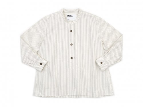 MHL. COMPACT COTTON STRIPE P/O SHIRTS 030WHITE 〔レディース〕