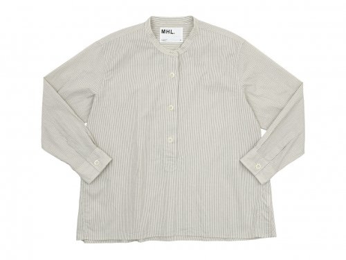 MHL. GRAPHIC COTTON STRIPE P/O SHIRTS 042BEIGE 〔レディース〕