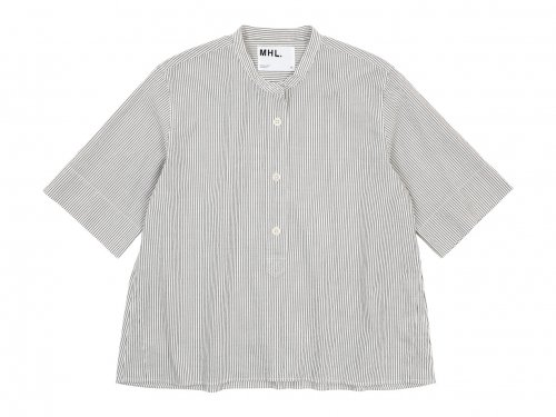 MHL. COTTON LINEN STRIPE S/S SHIRTS 034WHITE 〔レディース〕