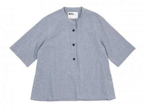 MHL. COTTON LINEN STRIPE S/S SHIRTS 117BLUE 〔レディース〕